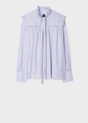 Paul Smith Women's Light Blue And White Pinstripe Smock Shirt