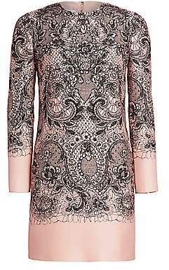 Valentino Women's Lace Print Long Sleeve Dress