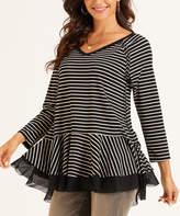 Suzanne Betro Weekend Women's Tunics 101BLACK/WHITE - Black & White Stripe Mesh-Trim Peplum Tunic - Women