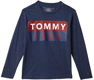Tommy Hilfiger Block Long Sleeve T-Shirt (Bid Kids) (Navy Heather) Boy's Clothing