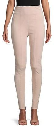 Balmain High-Rise Skinny Suede Trousers