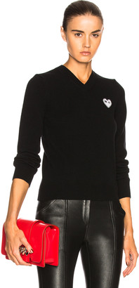 Comme des Garcons White Heart Pullover in Black | FWRD