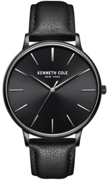 Kenneth Cole New York Men's 3 Hands Slim Black plated Stainless Steel Watch on Black Genuine Leather Strap, 42mm