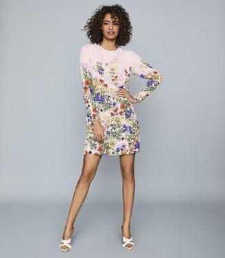 Reiss AGATHA FLORAL PRINTED MINI DRESS Pink