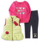 Kids Headquarters Baby Girls Dress, Vest and Pants Set