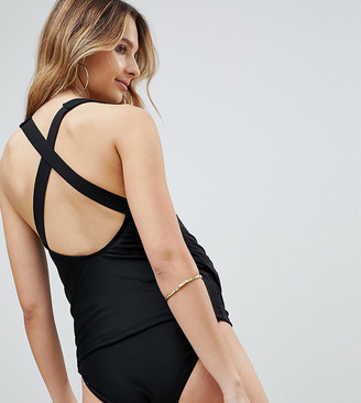Wolfwhistle Wolf & Whistle Maternity Strappy Black Tankini B-F Cup