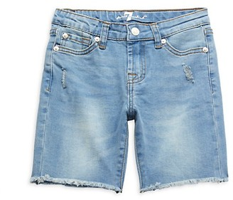 7 For All Mankind Little Girl's Distressed Denim Shorts
