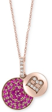 """Effy Certified Ruby (3/8 ct. t.w.) & Diamond Accent 18"""" Initial Pendant Necklace in 14k Rose Gold"""