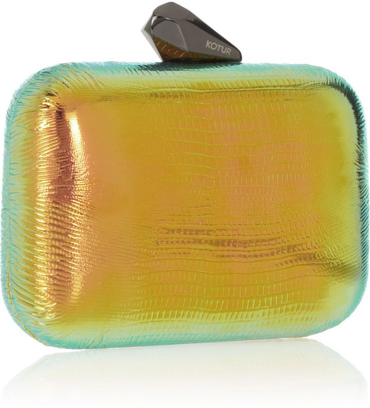 Kotur Morley Reflective iridescent lizard-effect clutch