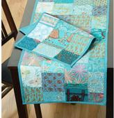 LR Resources Timbuktu 16 in. H x 80 in. W Hand Crafted Turquoise Cotton and Poly Recycled Sari Table Runner