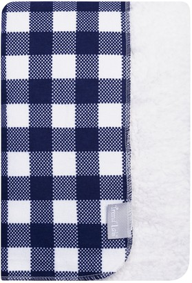 Trend Lab Navy & White Buffalo Check Flannel & Faux Shearling Baby Blanket