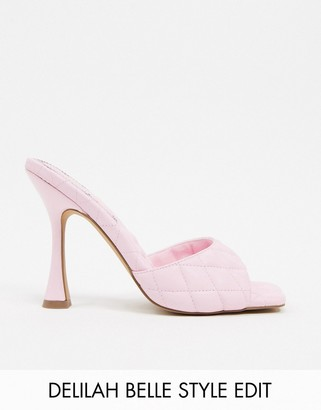 Asos Design DESIGN Nancy quilted square toe mules in pink