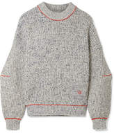 Victoria Beckham Embroidered Cotton And Wool-blend Sweater - Blue