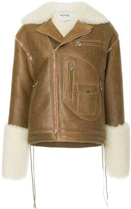 Monse Shearling Biker Jacket