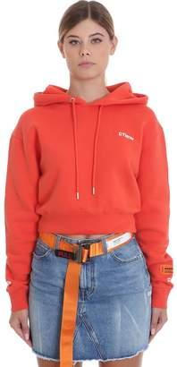 Heron Preston Crop Fire Sweatshirt In Red Cotton