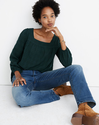Madewell Plaid Square-Neck Peasant Top