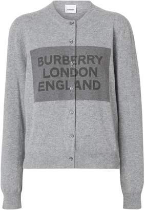 Burberry Logo Detail Cashmere Cardigan