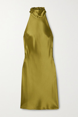 Galvan Sienna Satin Halterneck Mini Dress - Sage green