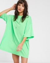 Weekday organic cotton oversized t-shirt dress in apple green