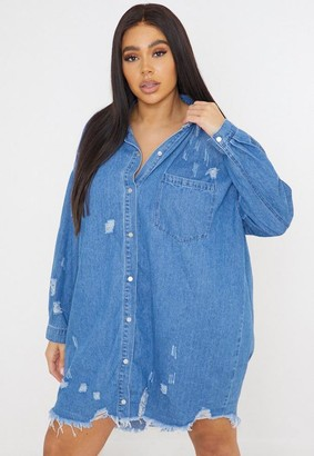 Missguided Plus Size Blue Distressed Hem Denim Shirt Dress