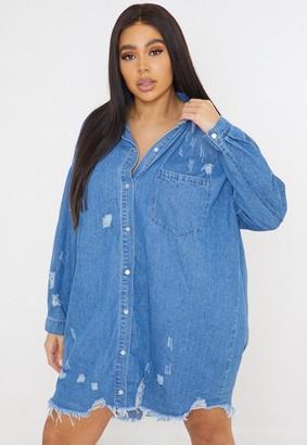 Missguided Size Blue Distressed Hem Denim Shirt Dress