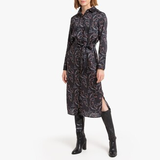 La Redoute Collections Midi Shirt Dress in Scarf Print