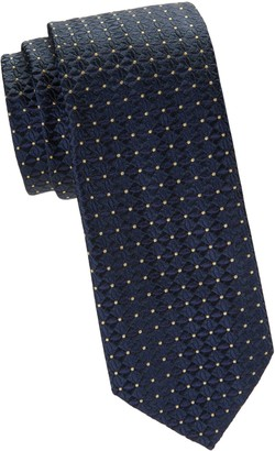 Saks Fifth Avenue Dotted Floral Embroidery Silk Tie