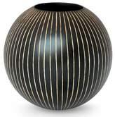 Modern Mango Wood Vase from Thailand, 'Black Deco Globe'
