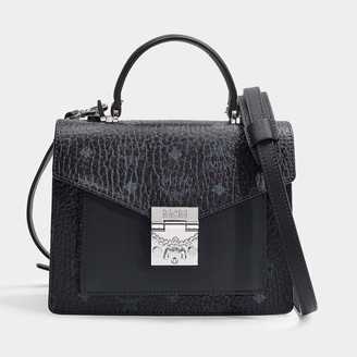 MCM Patricia Visetos Small Satchel In Black Coated Canvas