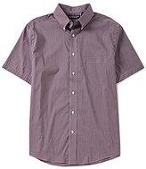 Roundtree & Yorke Big & Tall Short-Sleeve Stretch Poplin Micro Check Button-Down Collar Sportshirt