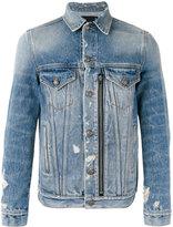 R 13 zipped front denim jacket - men - Cotton/Spandex/Elastane - M