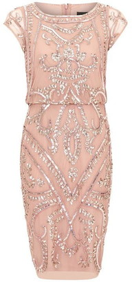 Adrianna Papell Beaded Blouson Sheath Dress