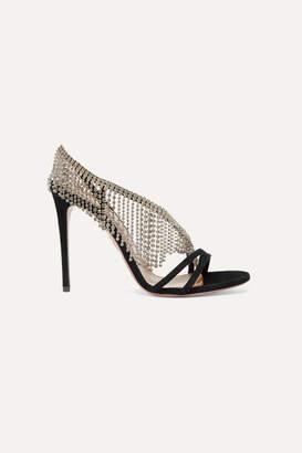 Aquazzura Wild Fringe 105 Crystal-embellished Suede Slingback Sandals - Black