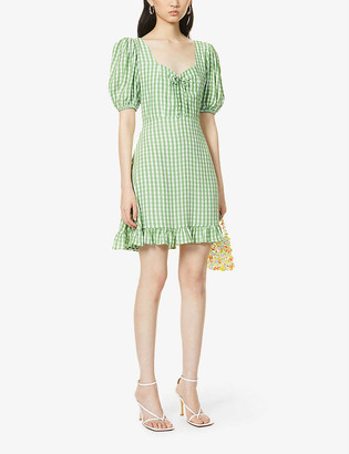 Faithfull The Brand Agathe gingham woven mini dress
