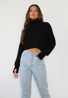 Missguided Petite Black Turtle Neck Crop Thumbhole Sweater
