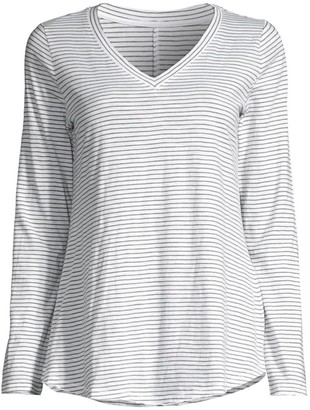 Eileen Fisher Striped Organic Cotton V-Neck Top
