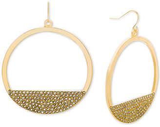Steve Madden Gold-Tone Rhinestone Open Circle Drop Earrings