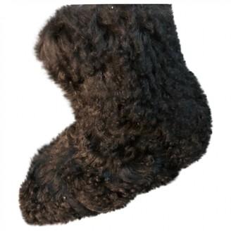 Saint Laurent Black Mongolian Lamb Boots