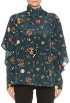 Marni Funnel-Neck Floral Silk Blouse, Blue Pattern