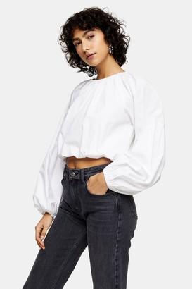 Topshop Womens White Bubble Hem Long Sleeve Top - White