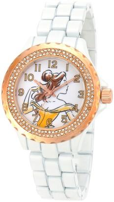 Disney Belle Women's White Enamel Sparkle Watch