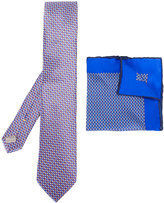 Canali dotted pocket square and tie set