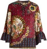 Etro Lace-up V-neck silk-jacquard blouse