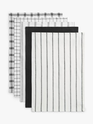 House by John Lewis Cotton Tea Towels, Set of 5, Black/White