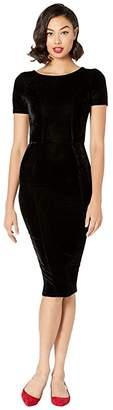 Unique Vintage 1960s Short Sleeve Stretch Mod Wiggle Dress (Black Velvet) Women's Dress