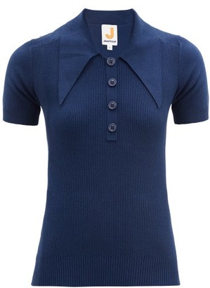 JoosTricot Oversized Point-collar Cotton-blend Polo Shirt - Navy