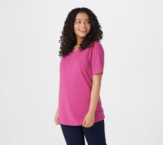 Denim & Co. Essentials Jersey Split V-Neck Top