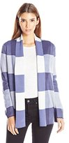 Leo & Nicole Women's Petite Long Sleeve Buffalo Plaid Sweater