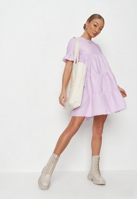 Missguided Lilac Frill Sleeve Smock Dress