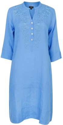 Nologo Chic Victoria Embroidered Tunic Dress Blue With Blue